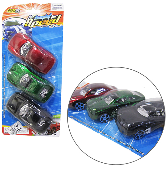 CARRO A FRICCAO HIGHT FOR SPEED COLORS KIT COM 3 PECAS NA CARTELA