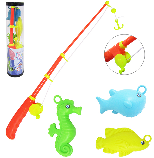 VARINHA PEGA PEIXE COM 3 PECAS FISHING GAME COLORS NO TUBO