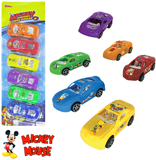 CARRO A FRICCAO MICKEY COLORS KIT COM 6 PECAS NA CARTELA