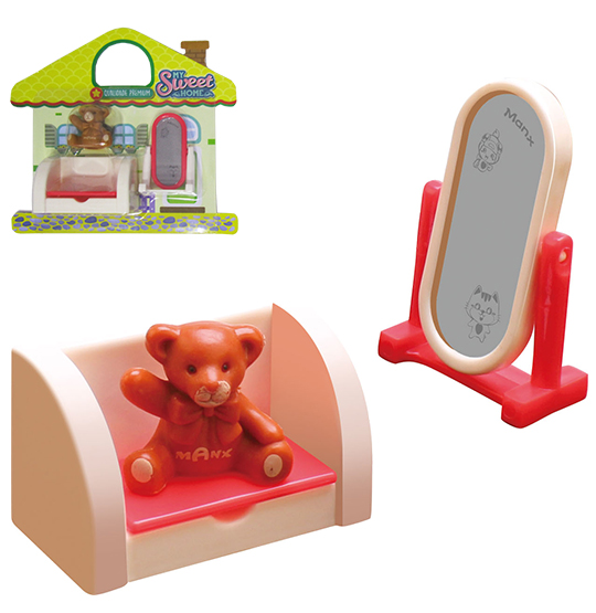 KIT MOVEIS INFANTIL COM SOFA E ACESSORIOS MY SWEET HOME 3 PECAS NA CARTELA