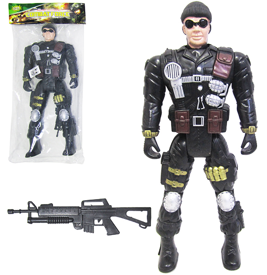 BONECO SOLDADO MILITAR COM ARMA EQUIPMENT COMBAT FORCE