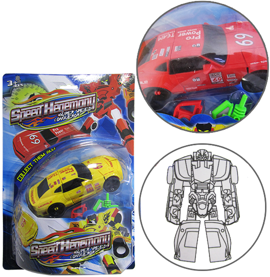 ROBO TRANSFORME CARRO SPEED HEGEMONY COM ACESSORIOS COLORS