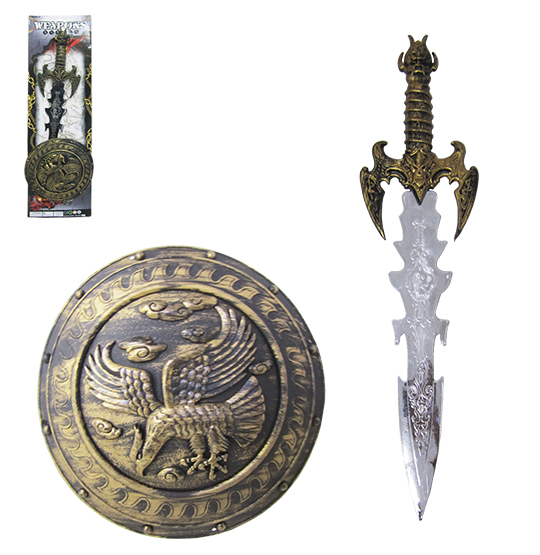 KIT MEDIEVAL COM ESPADA + ESCUDO WEAPONS SERIES NA CARTELA