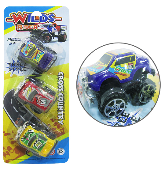 CARRO A FRICCAO PULL BACK WILDS RIDER COLORS KIT COM 3 PECAS NA CARTELA