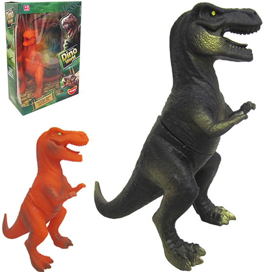 ANIMAL DINOSSAURO DE VINIL DINO WORD REX COLORS NA CAIXA