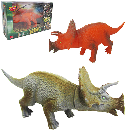 ANIMAL DINOSSAURO DE VINIL DINO WORD TRICERAPTOS COLORS NA CAIXA