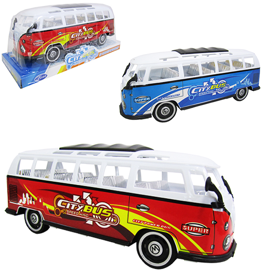 CARRO KOMBI A FRICCAO CITY BUS SPEED KING COLORS