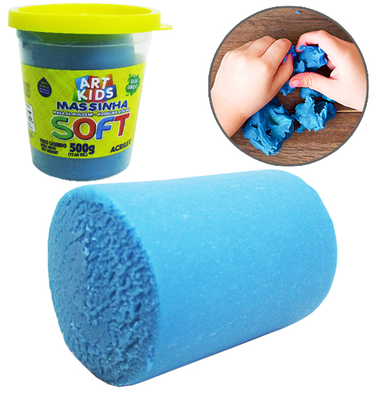 MASSINHA DE MODELAR SOFT AZUL 500G NO POTE