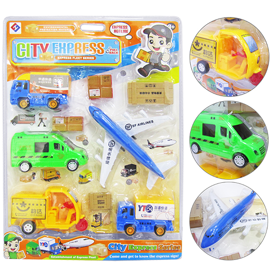KIT TRANSPORTE COM CARRO / AVIAO A FRICAO E ACESSORIOS CITY EXPRERSS COLORS 9 PECAS