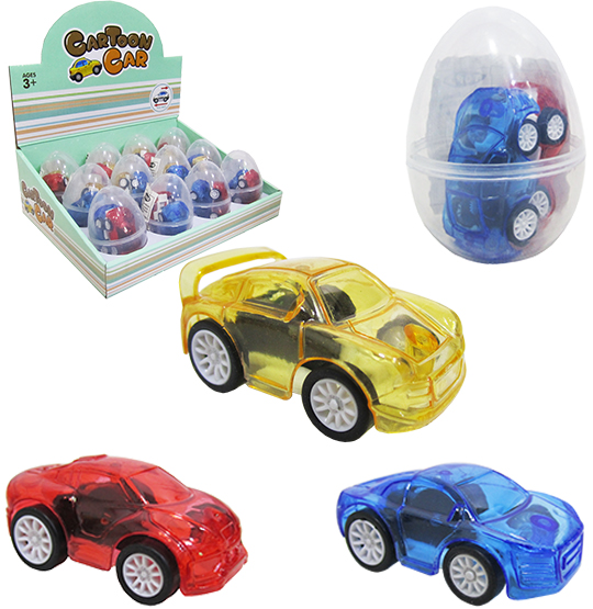 CARRO A FRICCAO PULL BACK CARTOON CAR COLORS COM 2 UNIDADES 5,3CM NA CAPSULA