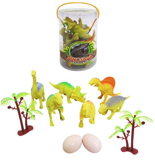 KIT ANIMAL DINOSSAURO DE PLASTICO JURASSIC WORLD TUBO PVC COM 10 PECAS