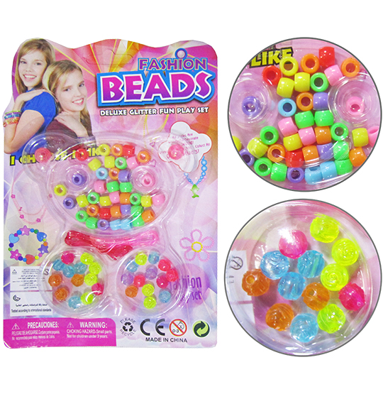 KIT BELEZA / BIJUTERIA INFANTIL COM 50 MICANGAS COLORS FASHION BEADS URSO NA CARTELA