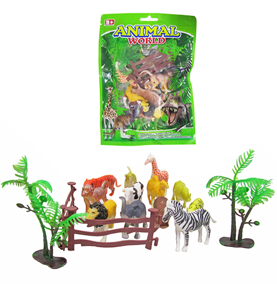 KIT ANIMAL SELVAGEM DE PVC ANIMAL WORLD COM ACESSORIOS 15 PECAS