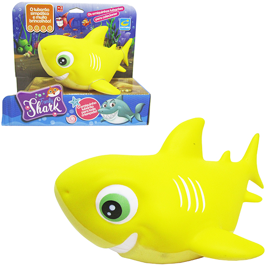 ANIMAL TUBARAO DE VINIL FAMILY SHARK AMARELO NA CAIXA