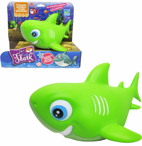 ANIMAL TUBARAO DE VINIL FAMILY SHARK VERDE NA CAIXA