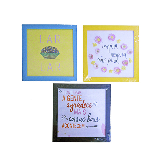 QUADRO DECORATIVO FRASES COM MOLDURDA COLORS 23X23CM