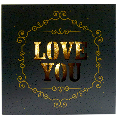 QUADRO DECORATIVO ILUMINADO LOVE YOU COM 8 LEDS A PILHA 14CM