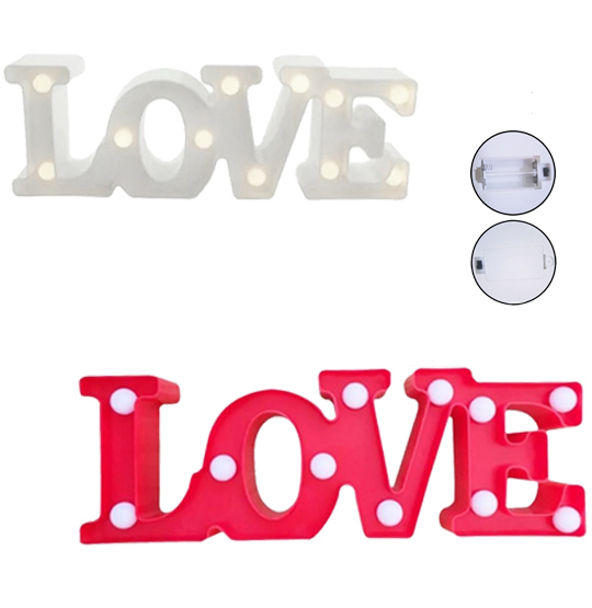 ENFEITE LUMINOSO COM 11 LEDS LOVE DE PLASTICO COLORS 29X10CM