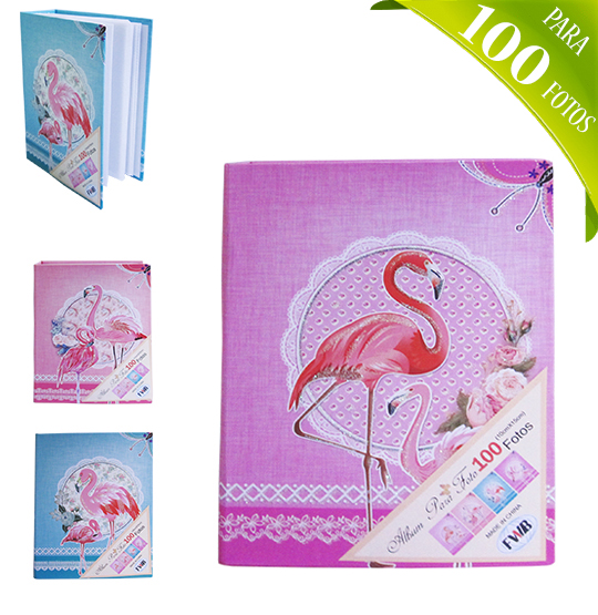 ALBUM DE FOTOS DECORADO FLAMINGO PARA 100 FOTOS 10X15CM COLORS