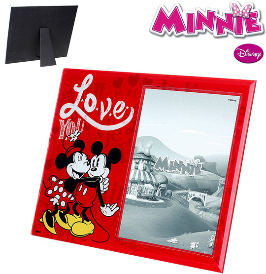 PORTA RETRATO 13X18 DE VIDRO VERTICAL LOVE MINNIE