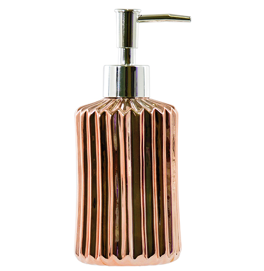PORTA SABONETE LIQUIDO DE PORCELANA BATH METALIZADO ROSE 360ML