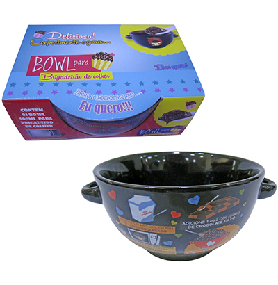 TIGELA DE PORCELANA REDONDA BOWL DECORADA COM ALCA 500ML