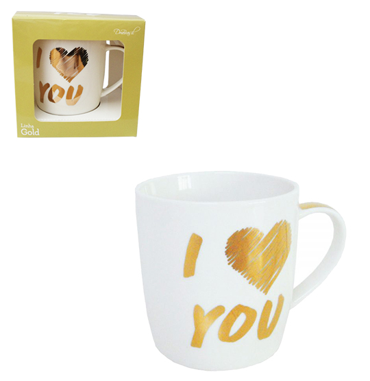 CANECA DE PORCELANA GOLD I LOVE YOU 320ML NA CAIXA