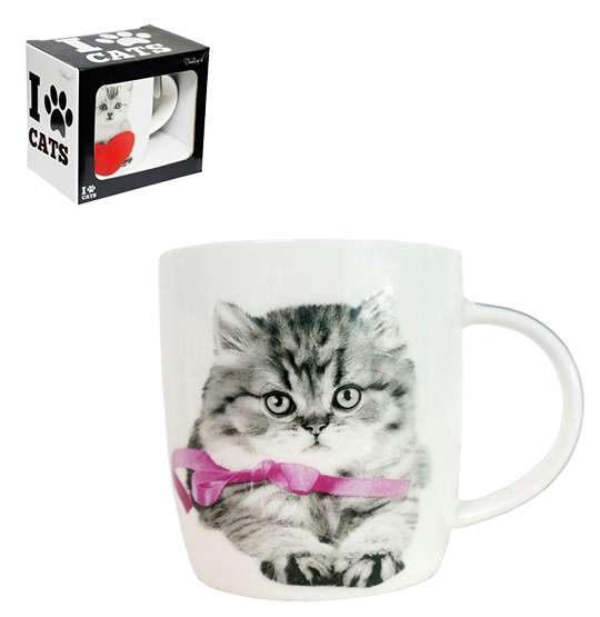 CANECA DE PORCELANA I LOVE CATS 320ML NA CAIXA