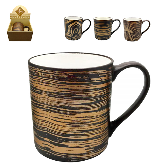 CANECA DE PORCELANA MATT BROWN ESTAMPA SORTIDAS 340ML NA CAIXA