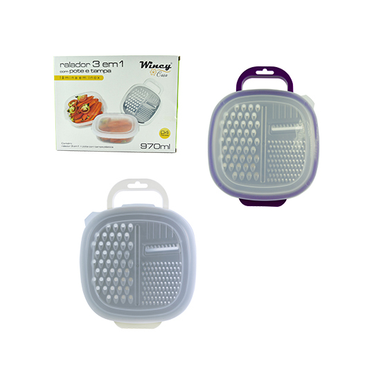 RALADOR 4 FACES DE INOX COM RESERVATORIO DE PLASTICO COLORS + TAMPA 970ML