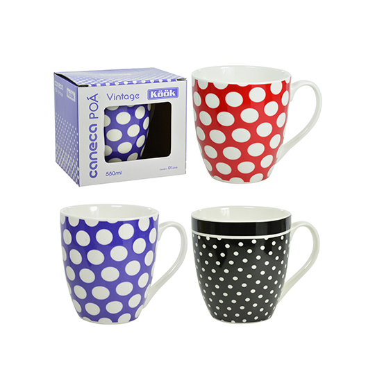 CANECA DE PORCELANA VINTAGE POA COLORS 580ML