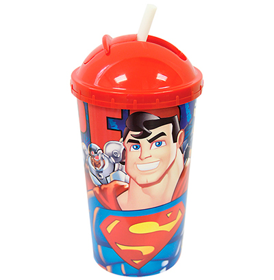 COPO DE PLASTICO SUPERMAN COM TAMPA E CANUDO RETRATIL 600ML