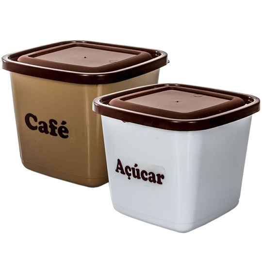 CONJUNTO PARA MANTIMENTOS QUADRADO CAFE + ACUCAR 2100ML