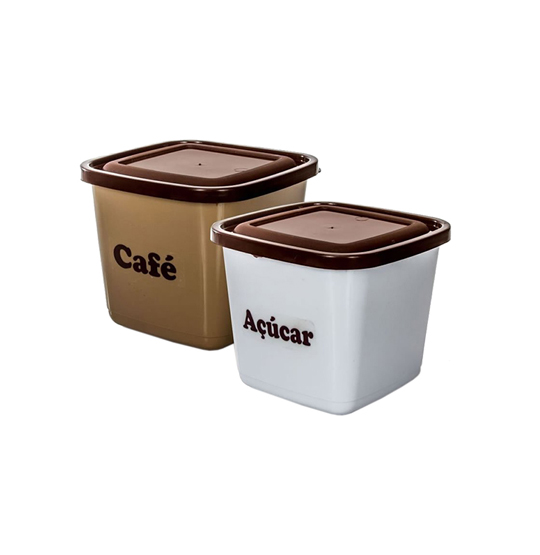 CONJUNTO PARA MANTIMENTOS QUADRADO CAFE + ACUCAR 1100ML