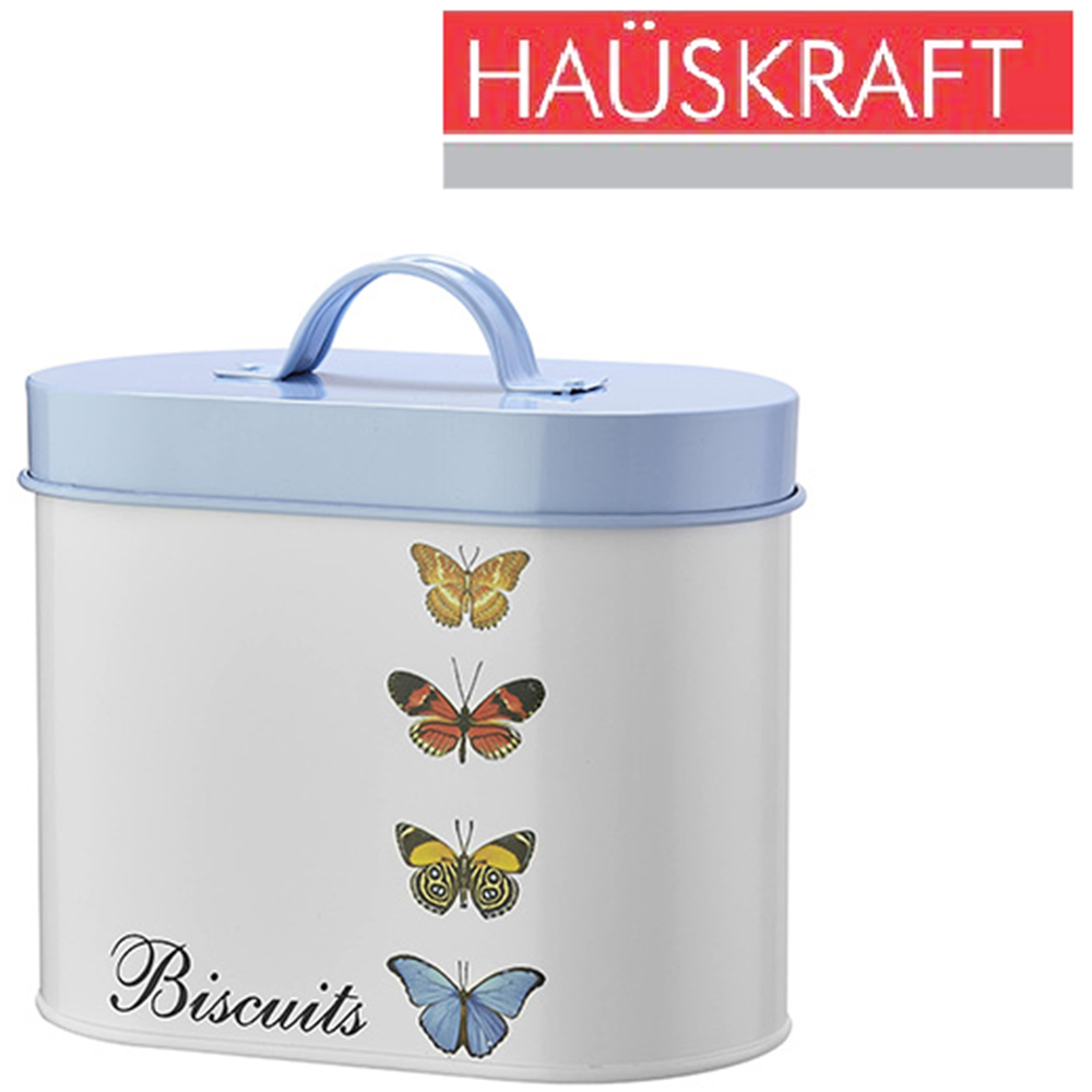 POTE DE LATA OVAL PARA BISCOITO / BISCUITS COM TAMPA + ALCA BUTTERFLY HAUSKRAFT 1,3L