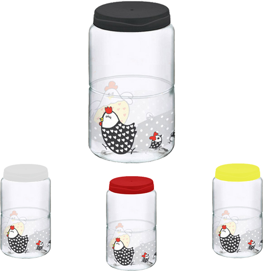 POTE DE PLASTICO DECORADO GALINHA COM TAMPA COLORS 1600ML
