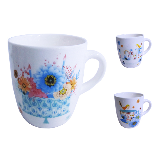 CANECA DE PORCELANA LOVE BIRDS 250ML ESTAMPA SORTIDAS