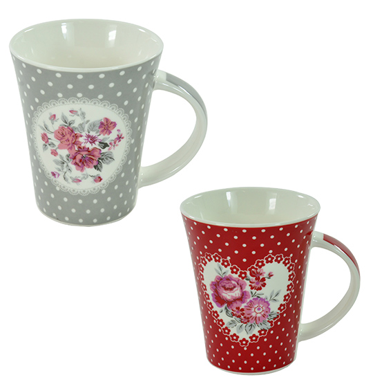 CANECA DE PORCELANA FLORA/POA 370ML COLORS