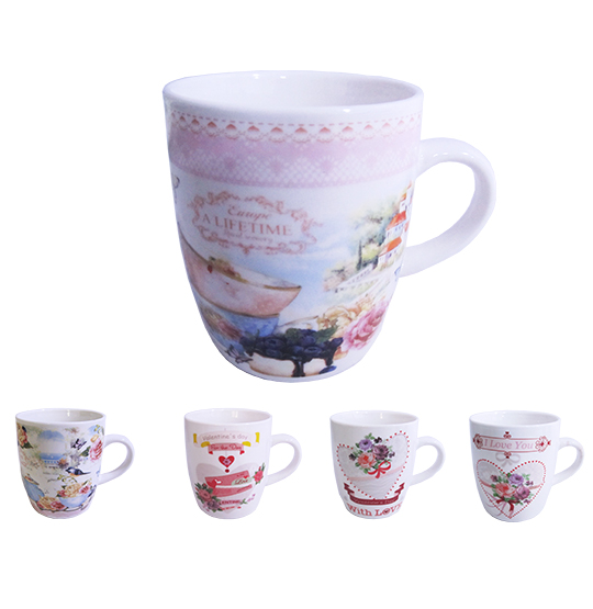 CANECA DE PORCELANA LOVE FLOWERS 240ML ESTAMPA SORTIDAS