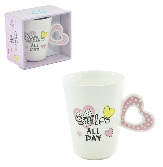 CANECA DE PORCELANA SMILES ALL DAY COM ALCA DE CORACAO 360ML NA CAIXA