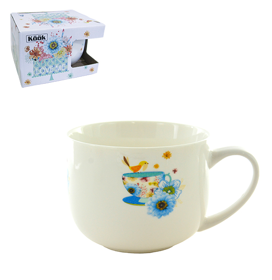 CANECA DE PORCELANA JUMBO LOVE BIRDS 470ML NA CAIXA