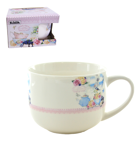 CANECA DE PORCELANA JUMBO LOVE FLOWER 470ML NA CAIXA