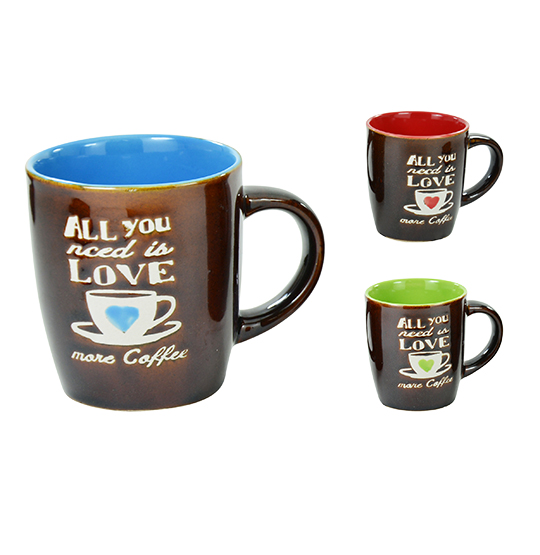 CANECA DE PORCELANA LOVE COFFEE 230ML BICOLORS