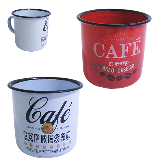 CANECA DECORADA ESMALTADA AGATA COLORS 350ML