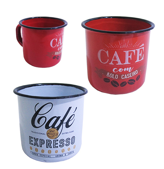 CANECA DECORADA ESMALTADA AGATA COLORS 250ML