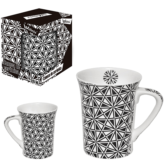CANECA DE PORCELANA MUDDY ABSTRATA 320ML NA CAIXA