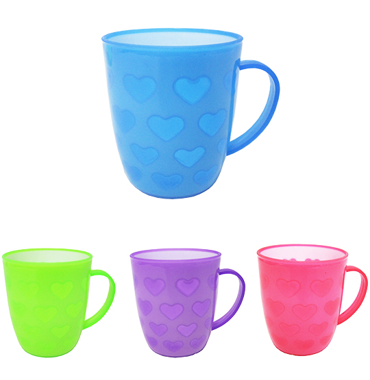 CANECA DE PLASTICO CORACAO COLORS 400ML