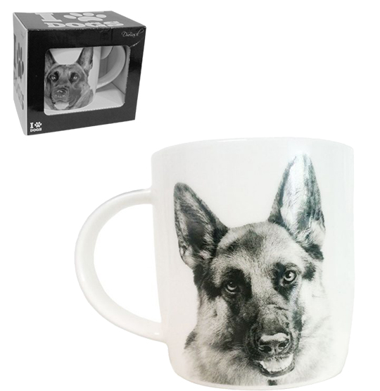 CANECA DE PORCELANA I LOVE DOGS PASTOR ALEMAO 320ML