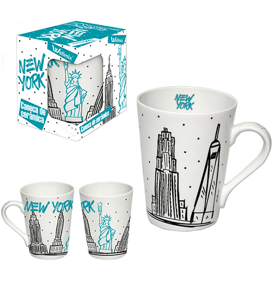 CANECA DE PORCELANA CONICA NEW YORK 340ML NA CAIXA WX