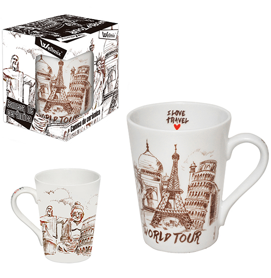 CANECA DE PORCELANA CONICA WORLD TOUR 340ML NA CAIXA WX